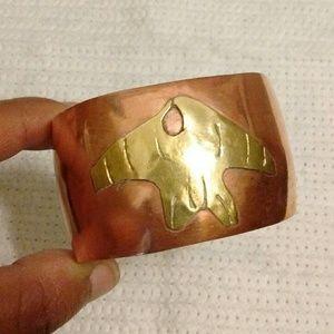 Vtg Mexico Copper & Brass Wide Cuff Bracelet
